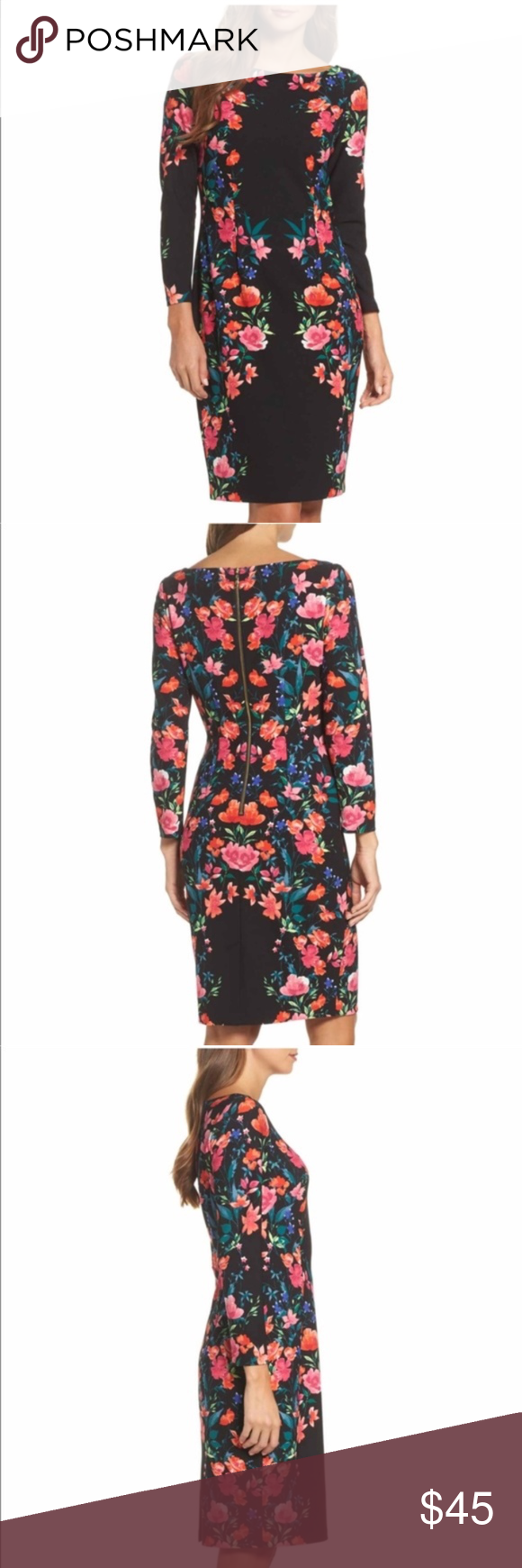 Eliza j flower floral black long sleeve dress nwt my posh closet