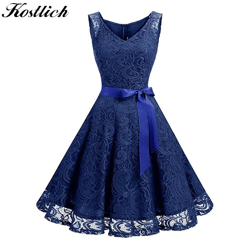 Find More Dresses Information about  Kostlich 2018  Lace Summer Dress Women  V Neck  Sleeveless  Belt Tunic Hepburn 50s Vintage  Dress Sexy Hollow   Party ... 29f322452ff6