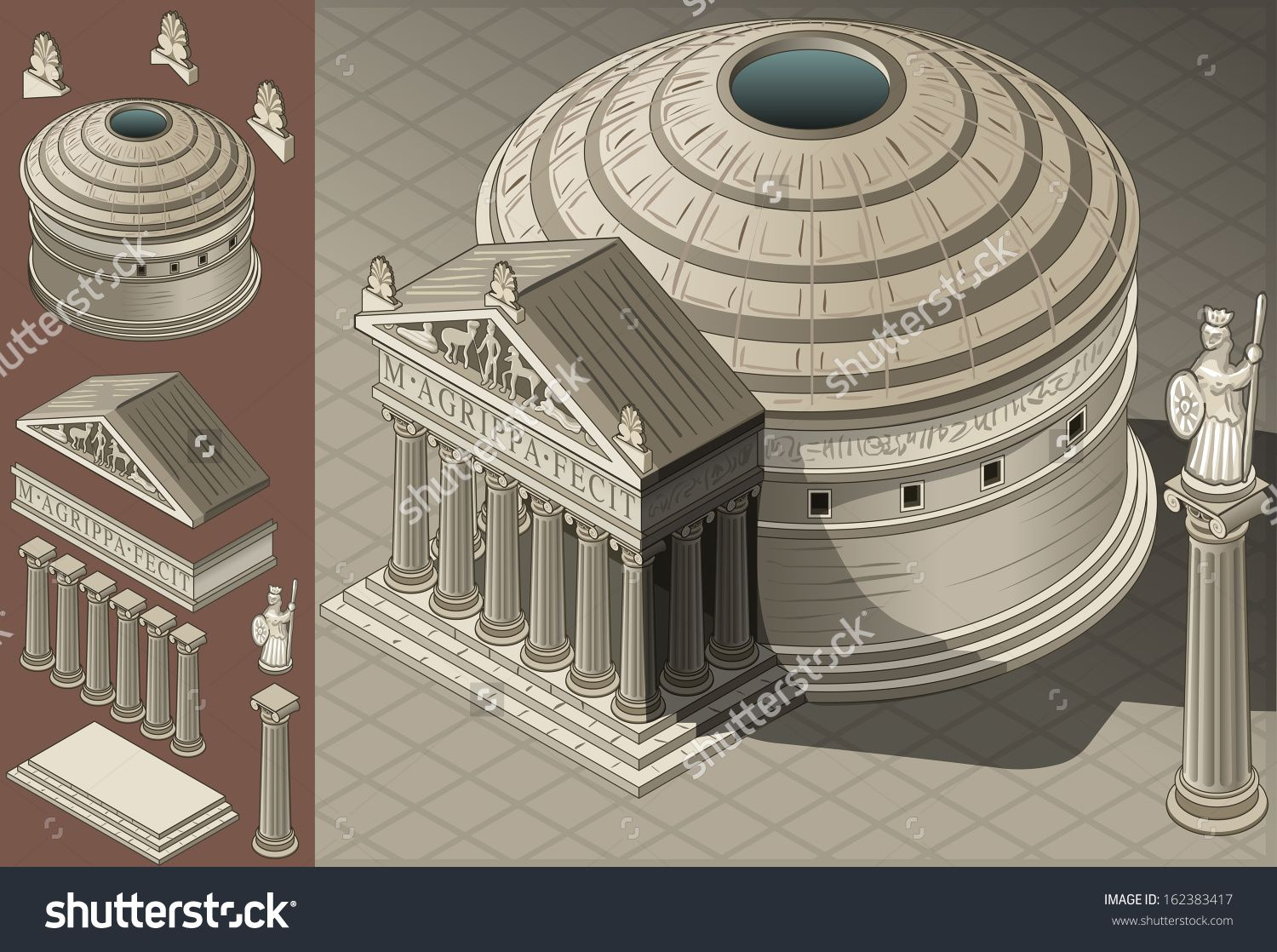 Roman Architecture Pantheon stock-photo-isometric-pantheon-building-ancient-rome-tiles-for