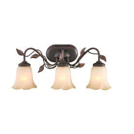 Allen Roth 3 Light Eastview Dark Oil Rubbed Bronze Bathroom Vanity Light.