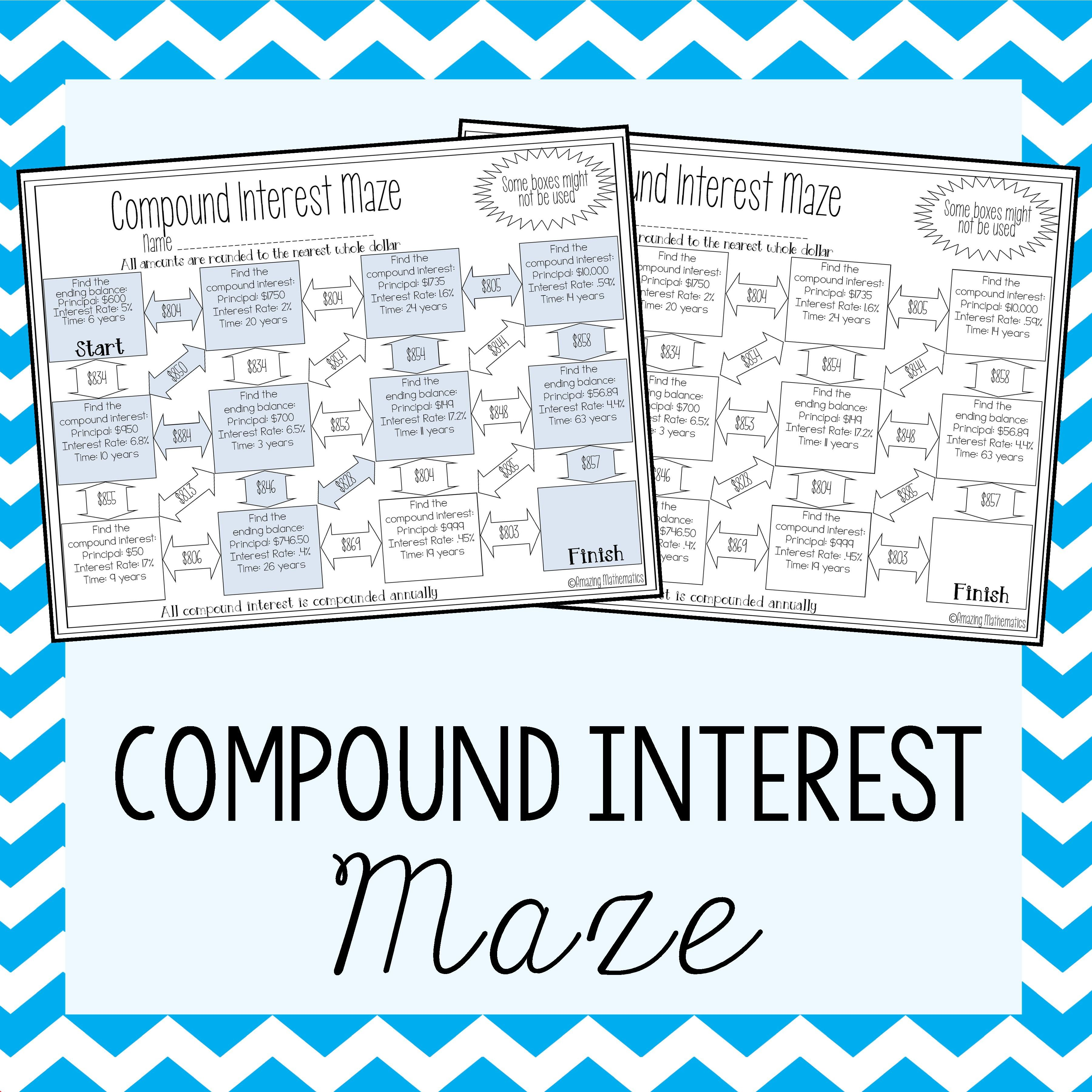 Worksheets Compound Interest Practice Worksheet compound interest maze simples e do 8ao ano these simple mazes would be such a fun activity for my 8th grade