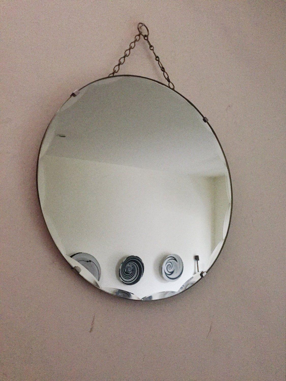 Photo of Vintage Art Deco Round Frameless wall mirror