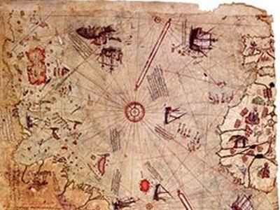 PİRİ REİS\u0027İN HARİTASI Harita, Doğu Avrupa\u0027yı ve Kuzey Afrika\u0027yı