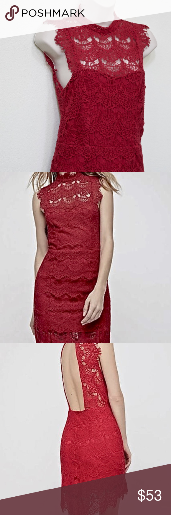 Free people red lace bodycon backless dress xs nwt my posh picks