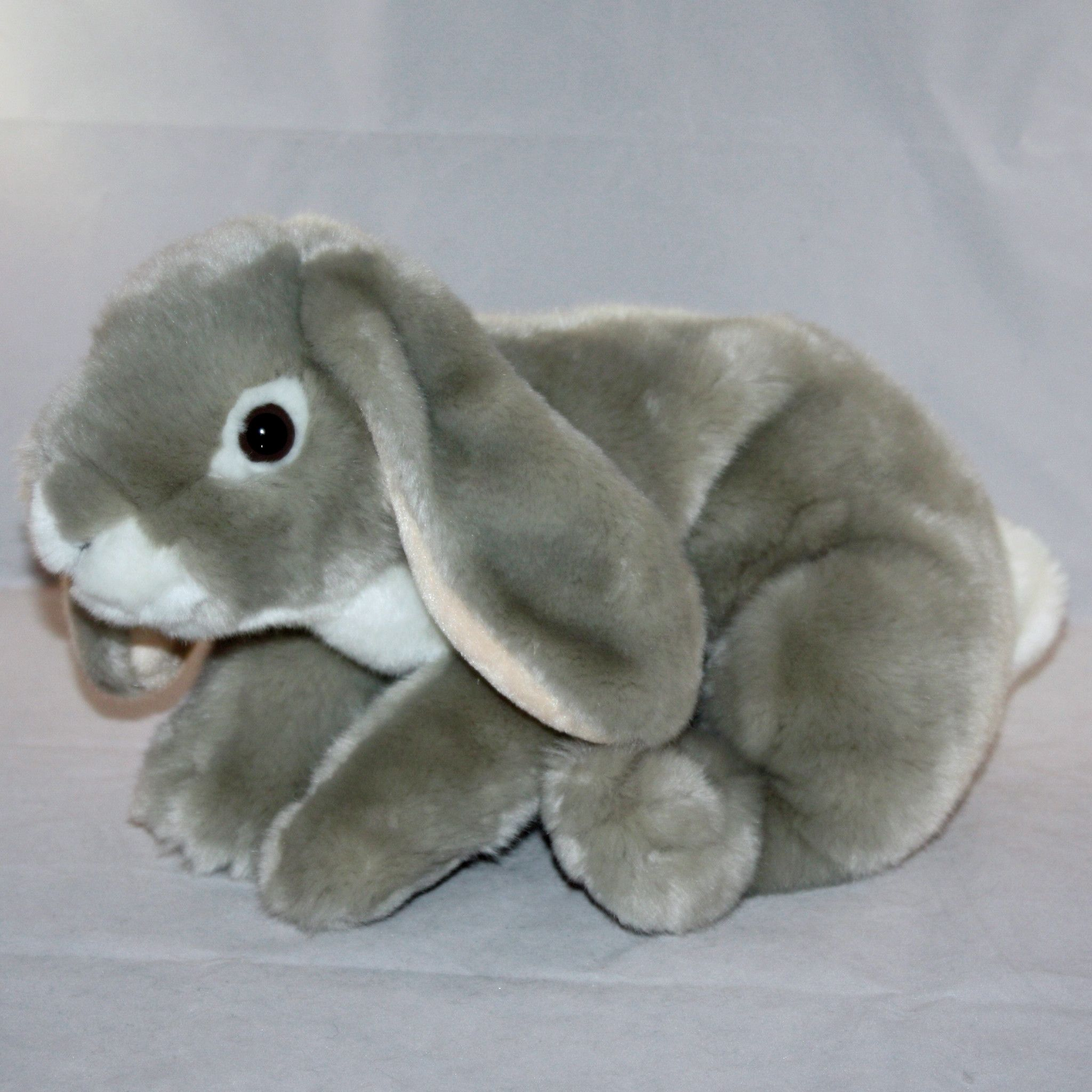 Animal Alley Gray Lop Eared Bunny Rabbit Realistic Plush Toy