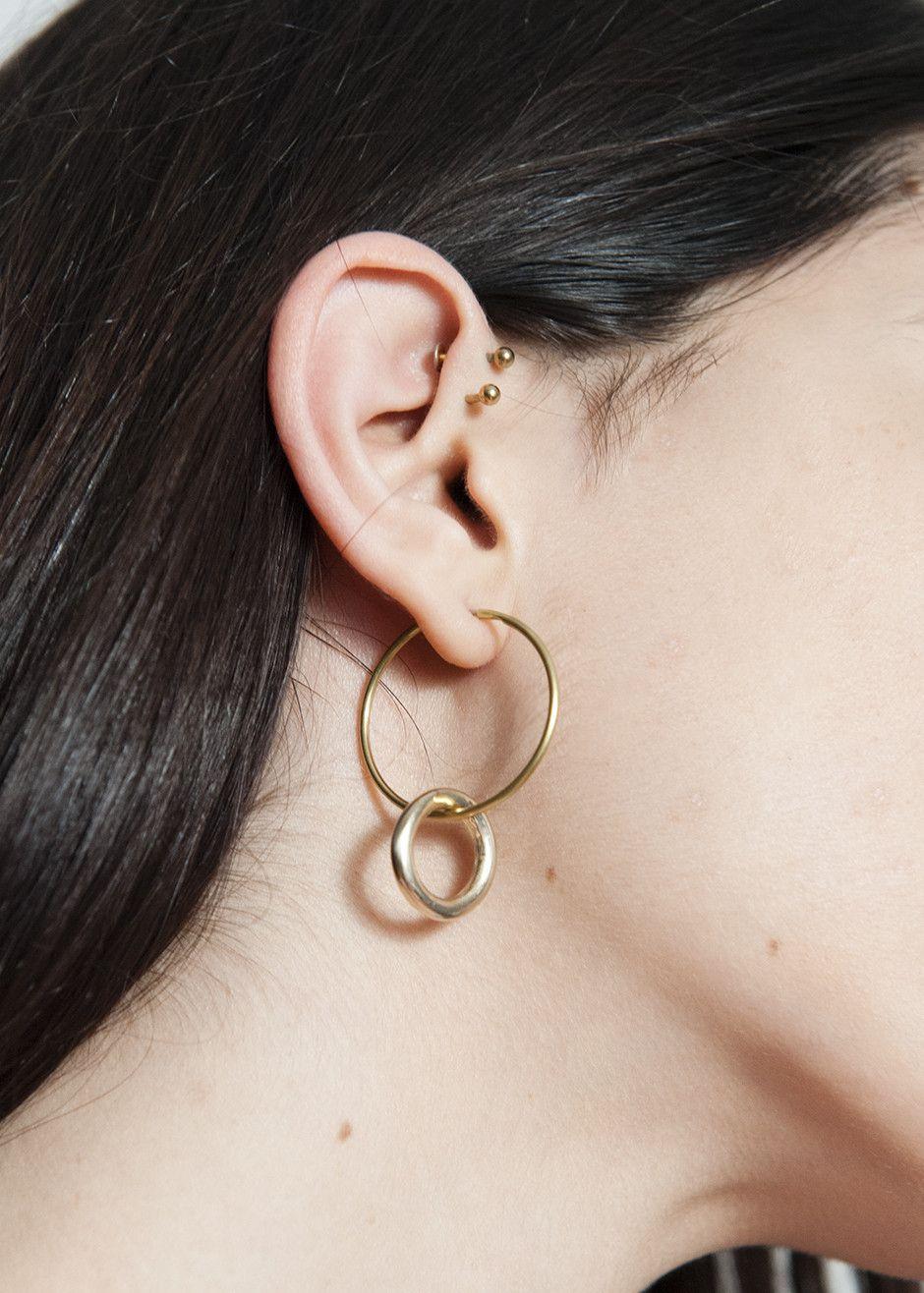 Vintage And Repurposed Material Br Hoop Pierced Earrings With Plated Ring Detail Surgical Steel Ear Wire Large Measures 30mm In Diameter