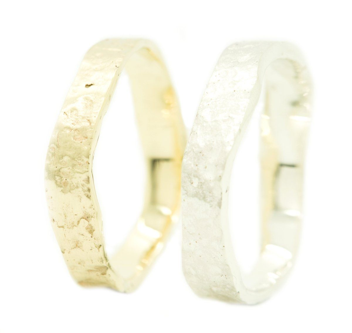Fairmined Gold Silver wedding rings with relief Nanini Jewelry