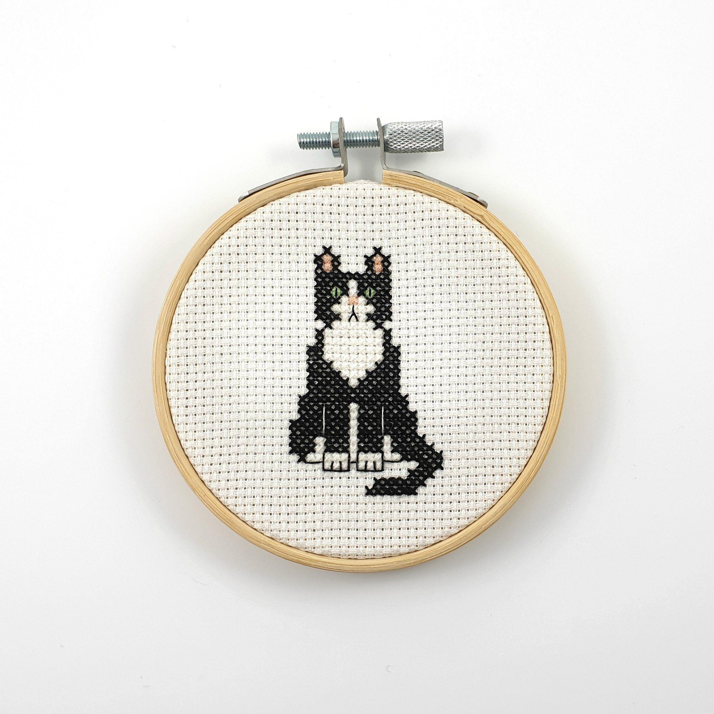 Tuxedo cat cross stitch pattern, cat pdf pattern, animal