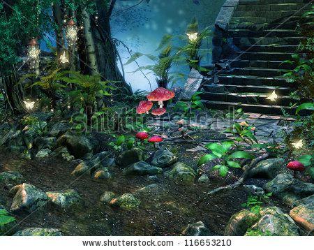 halloween backgrounds for fairy gardens magic mushroom stock photos illustrations and vector art
