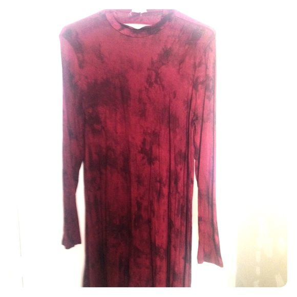 Tie dye T-shirt Dress Stretchy, comfy fabric, wine and black tie dye print with an open back at the top, im still able to wear a bra with it. It is abt 2-3 inches longer than the pic shows. Hits above the knee. High neck, boutique piece that ive only worn twice. So cute! Fantastic Fawn Dresses