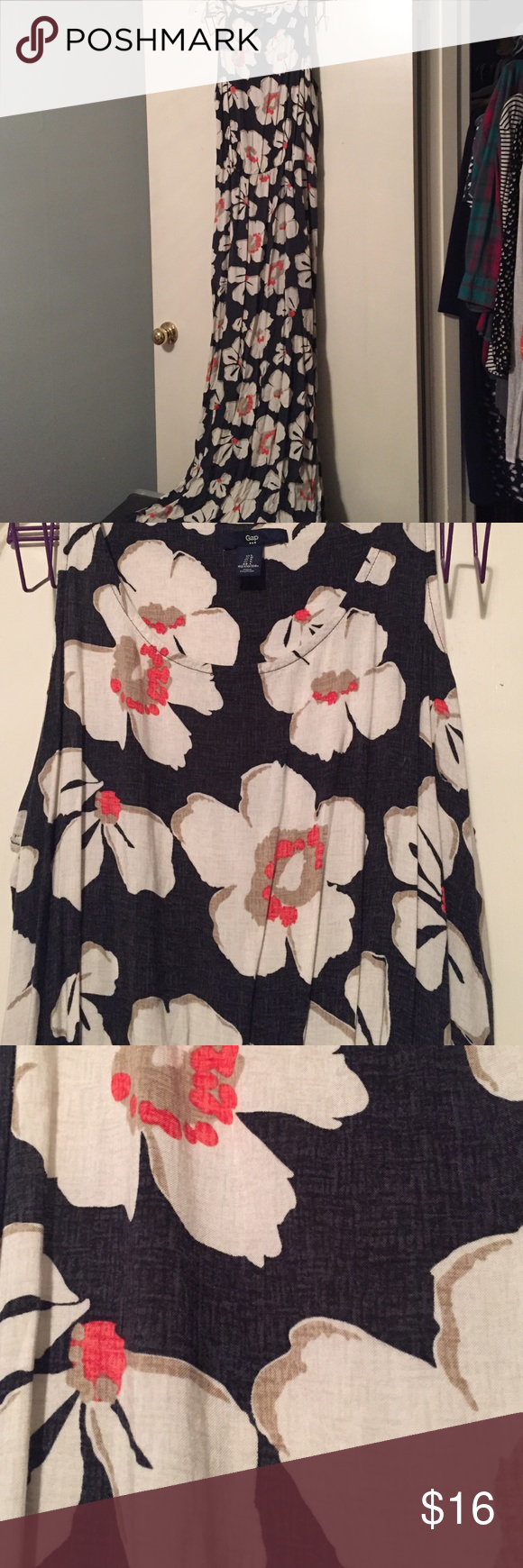 Gap floral maxi dress Black and dark gray stitch pattern with red and tan flowers. Small slits at the bottom of the dress on both sides. Elastic at the waist. GAP Dresses Maxi