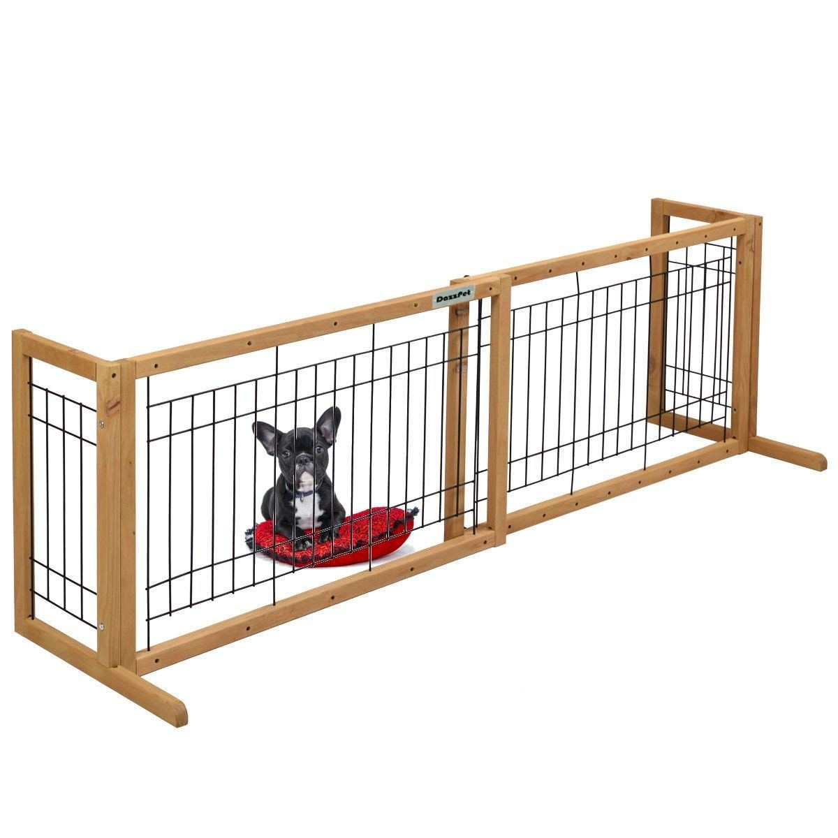 Dazzpet Free Standing Pet Gates Extra Wide Indoor Small Dog Gate Expandable Puppy Safety Gate Wooden Long Freestanding Pet Gate Dog Gate Pet Safety Gate