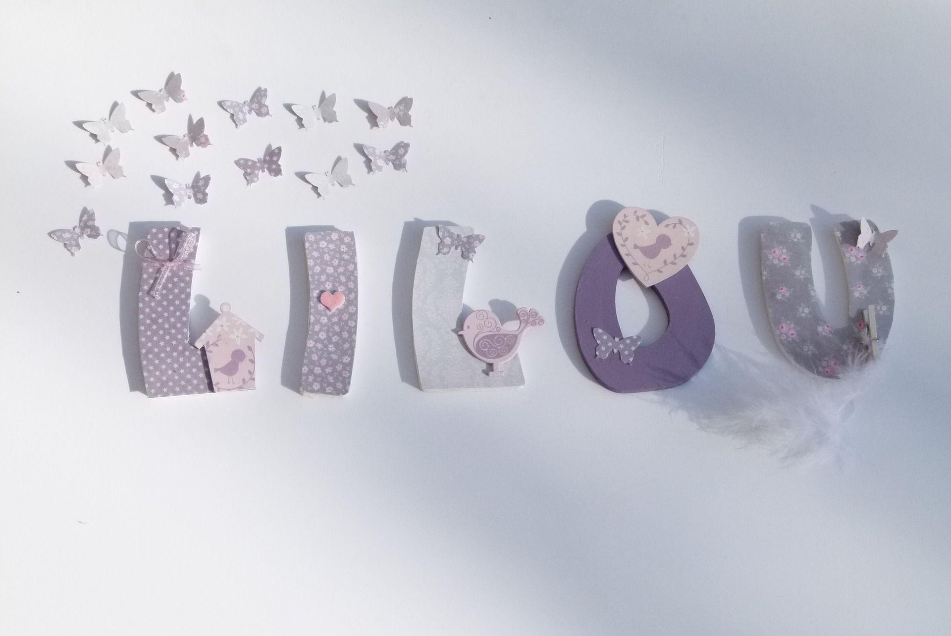 5 lettres prenom lilou theme nichoir d coration pour - Lettre prenom bois ...