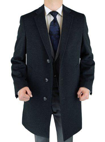 Men/'s Regular Fit Charcoal Gray Full Length Wool Cashmere Overcoat Top Coat