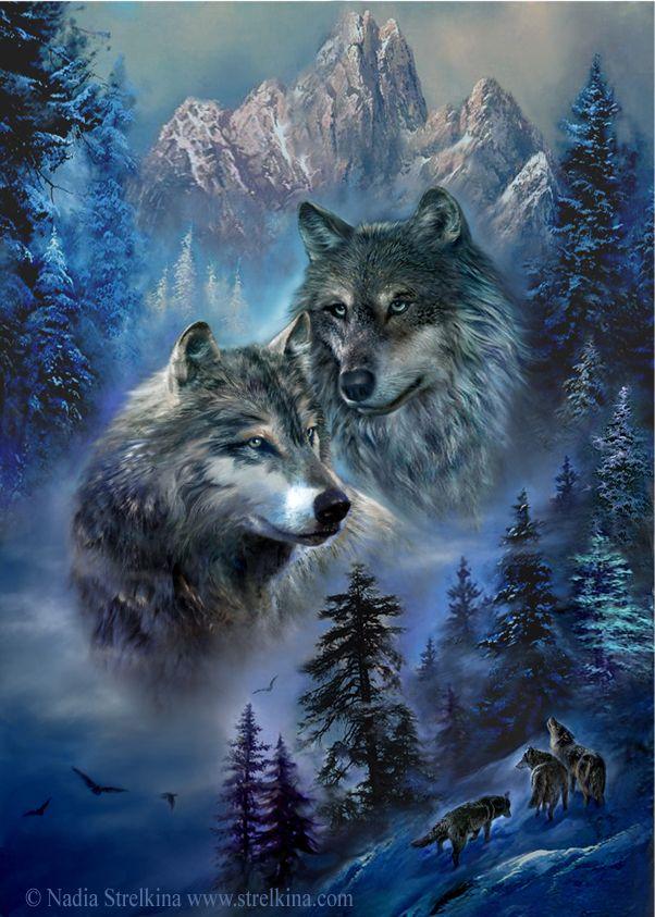 Открытка волчица и волк, выходных дней