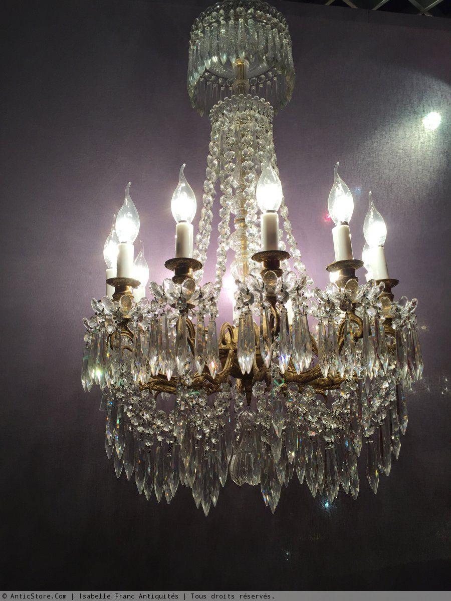 Lustre Cristal Signé Baccarat19me Crystal Chandeliers