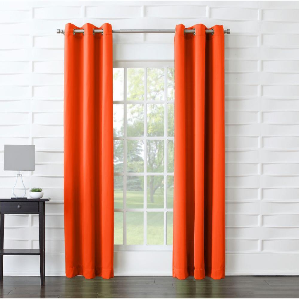 Sun Zero Tangerine Solid Grommet Room Darkening Curtain 40 In W X 95 In L 48090 The Home Depot Orange Curtains Room Darkening Curtains Room Darkening Sun zero room darkening curtains