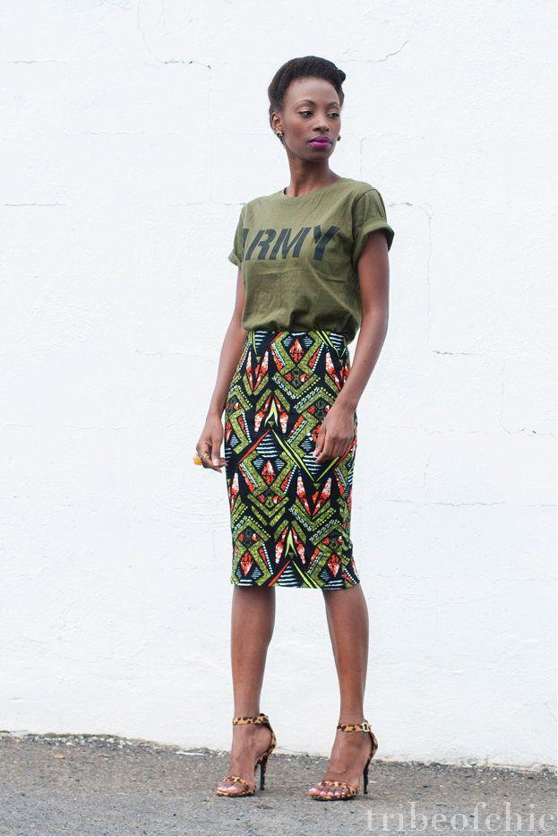 3e13c9a5181e pencil skirt with t shirt Africká Móda