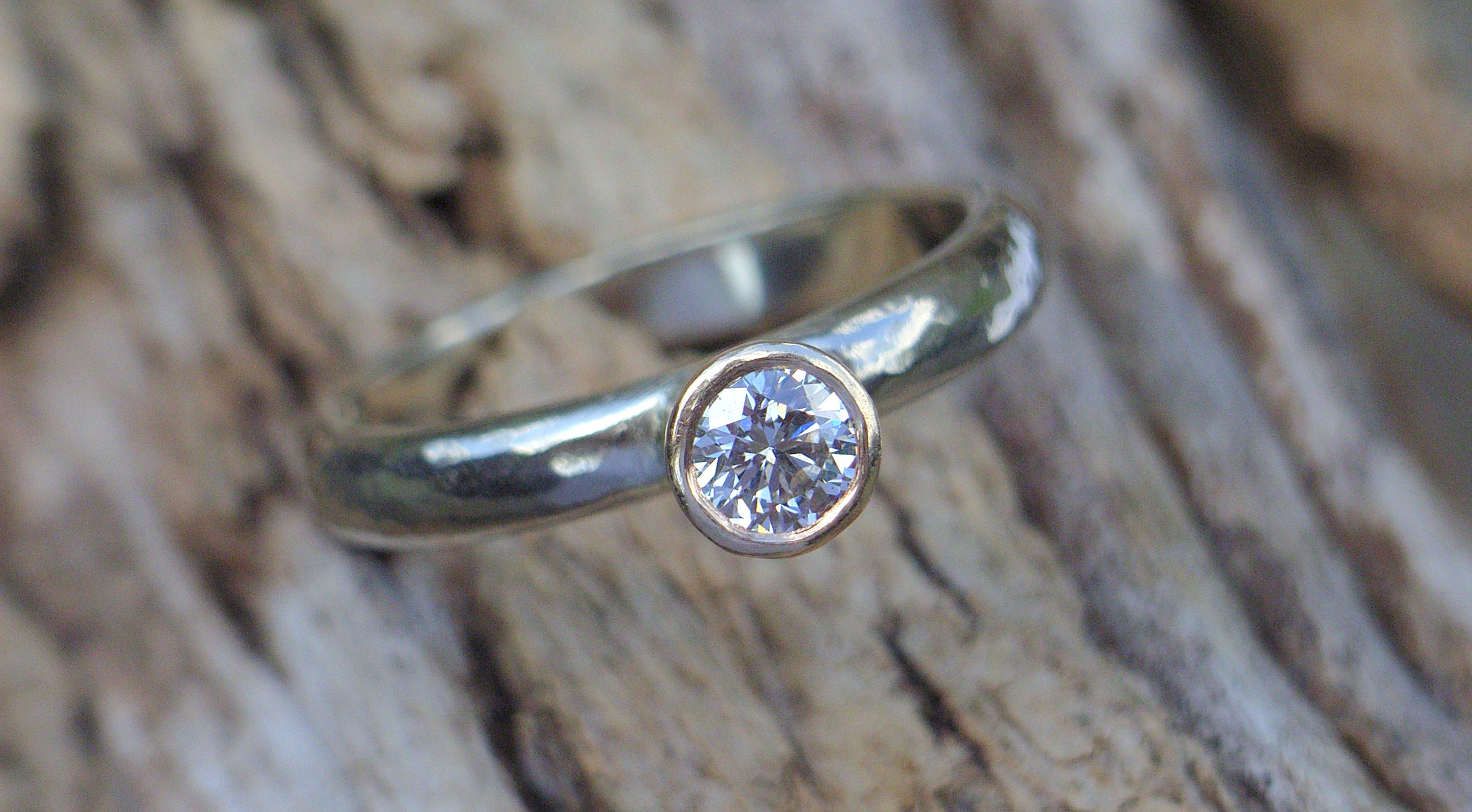 Recycled 14ct White And Yellow Gold With 3ct Diamond Engagement Ring Commission