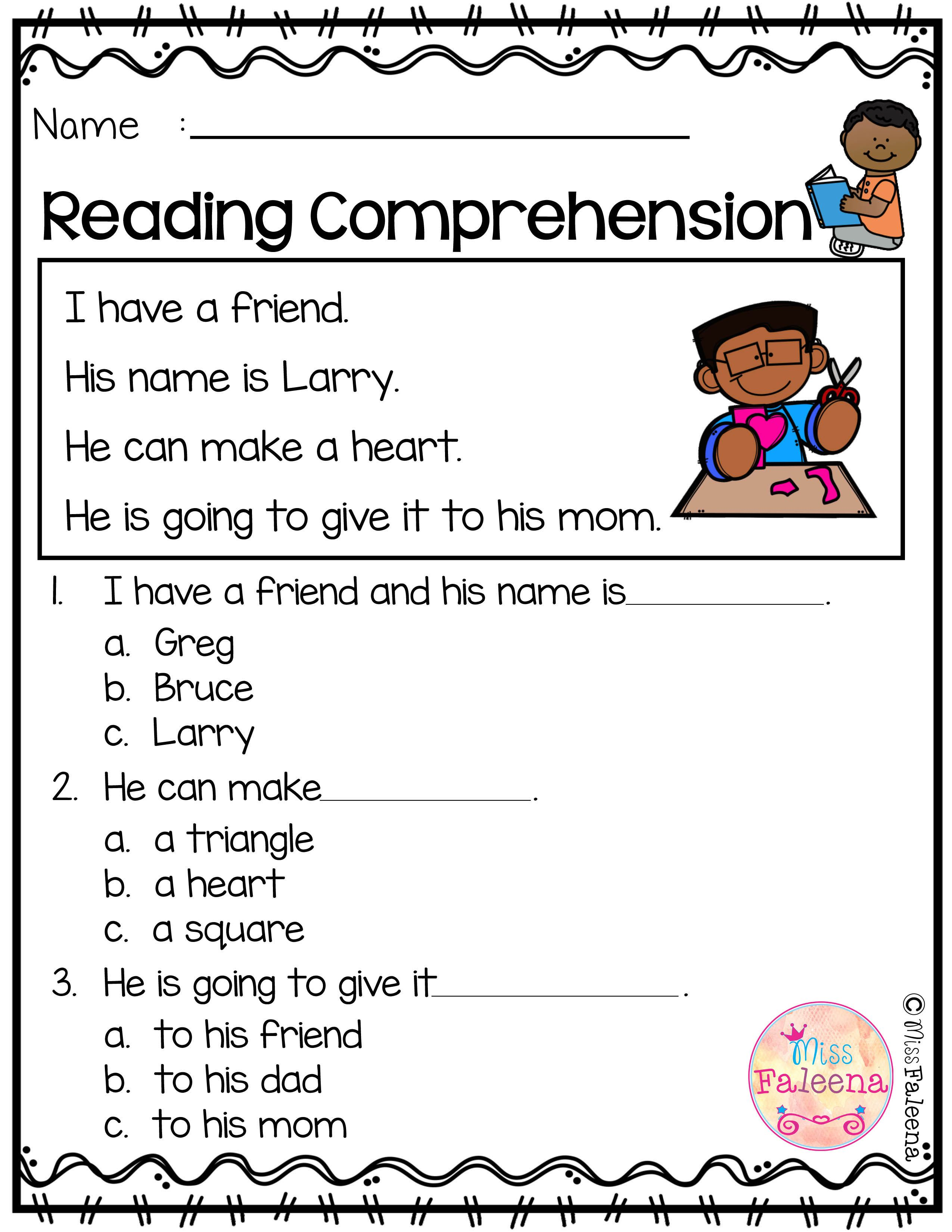 Free Reading Comprehension Is Suitable For Kindergarten Students Or B Reading Comprehension Kindergarten Reading Comprehension Reading Comprehension Worksheets [ 3300 x 2550 Pixel ]