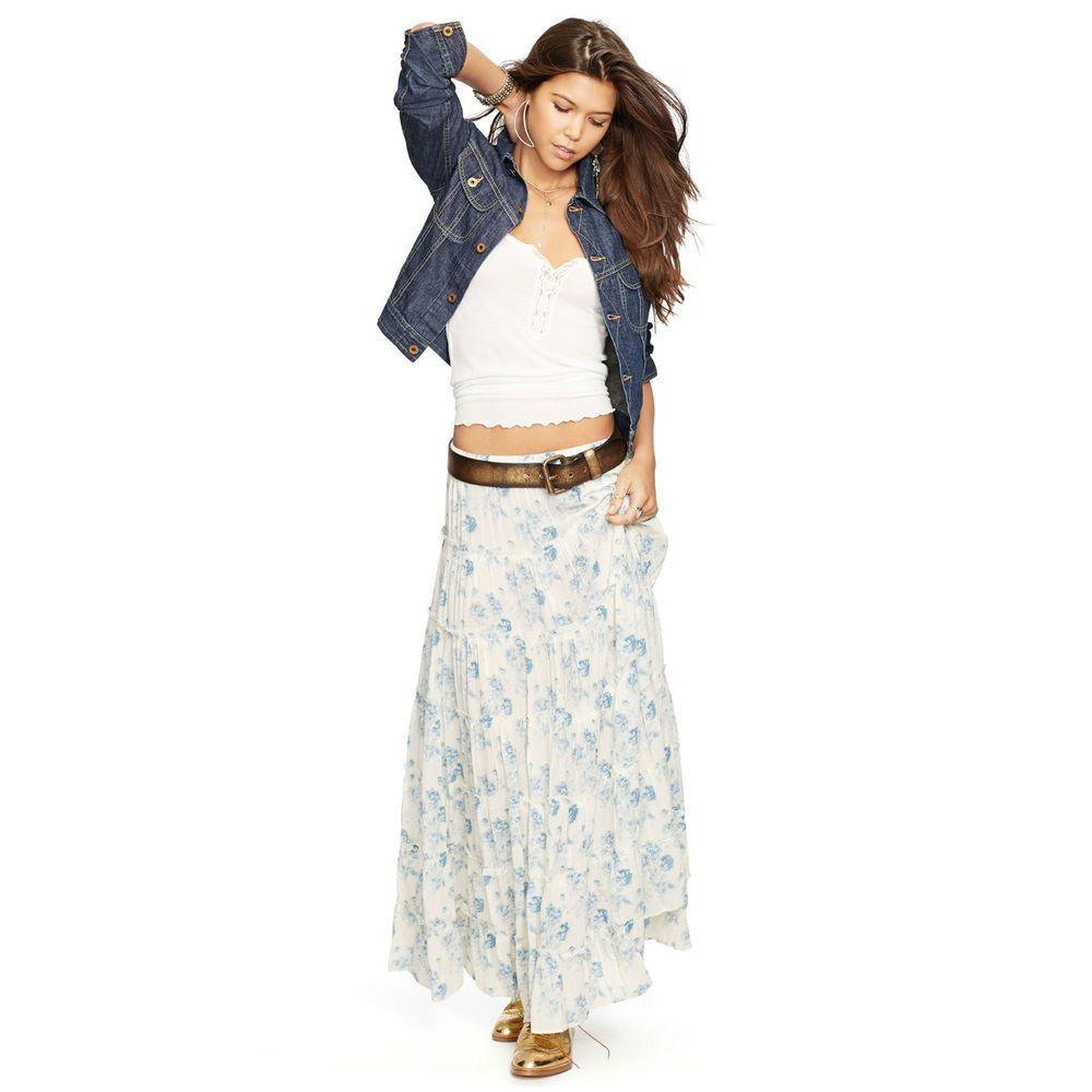 276562e422 Denim & Supply Ralph Lauren Floral Printed Tiered Long Maxi Skirt NEW Rocke  S