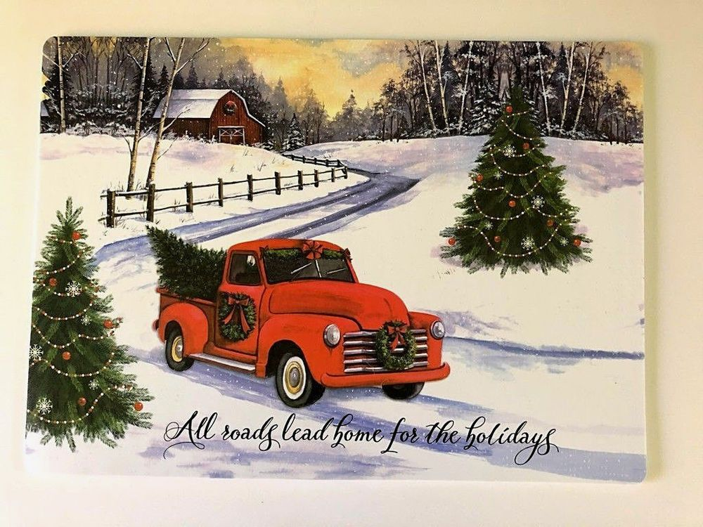 Vintage Red Truck Christmas Placemats.Red Farm Truck Placemats Set Of 4 Vinyl Foam Back Christmas