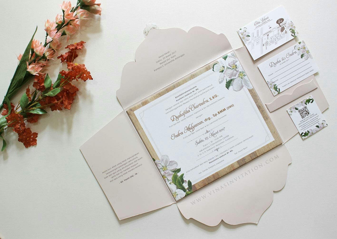 Vinas invitation. Flower theme invitation. Indonesian wedding ...