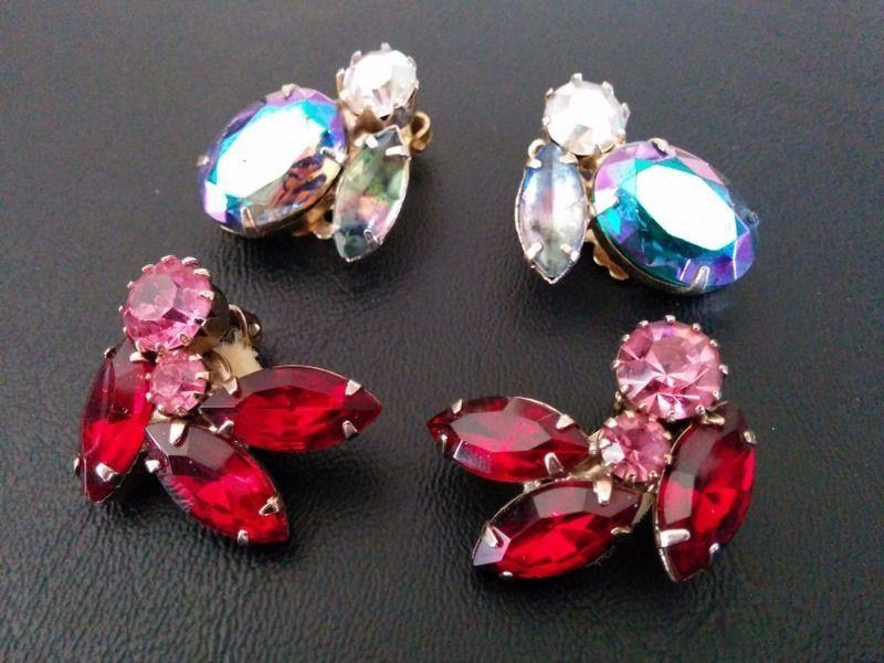 Vintage Earring LOT Set Givre Watermelon Glass Rhinestone Flower Juliana WOW 210