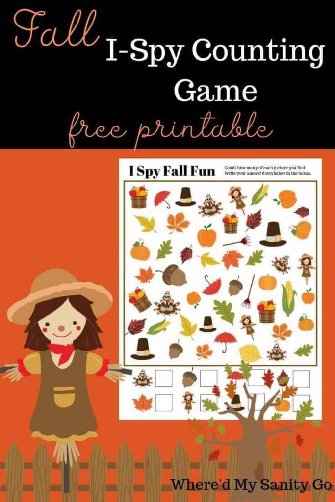 Fall I Spy Game – Free Printable Game To Help with Counting