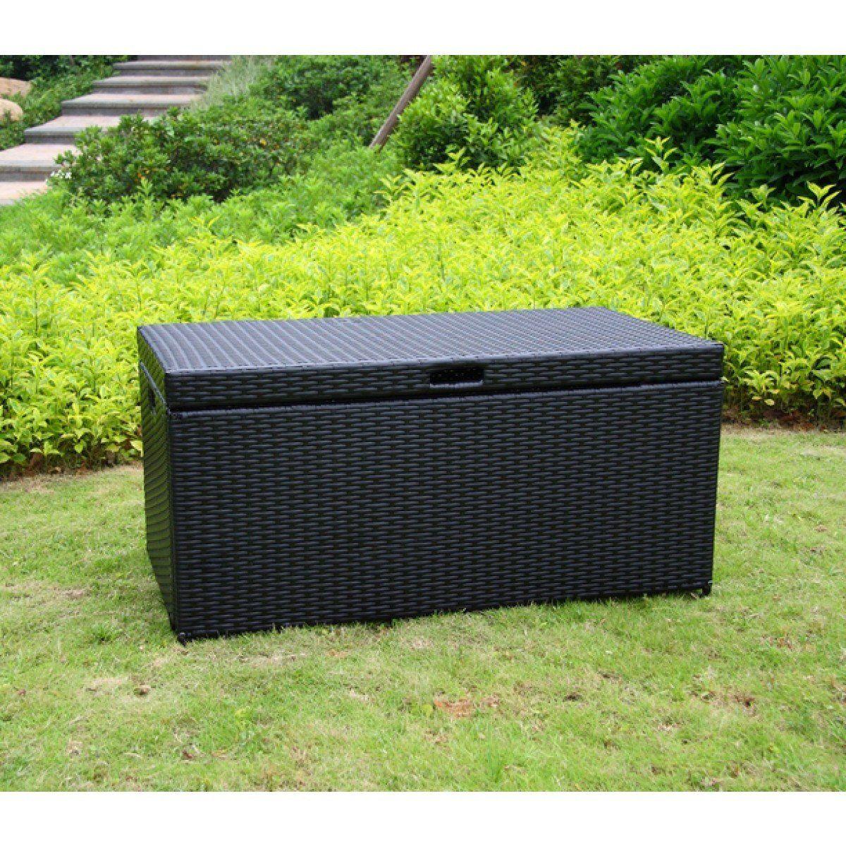 Black Wicker Patio Storage Deck Box Outdoor Wicker Patio
