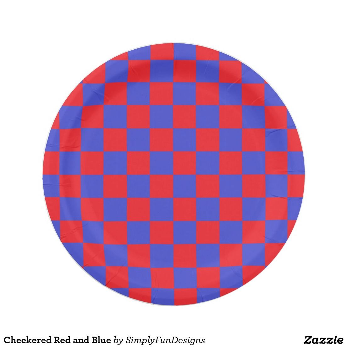 Checkered Red and Blue 7 Inch Paper Plate