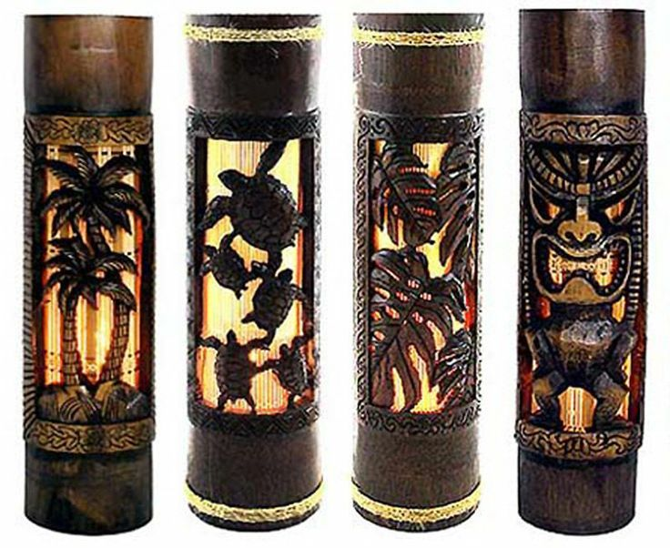 Tiki bar decor hawaiian lamp tiki bar palm tree home for Tiki decorations home