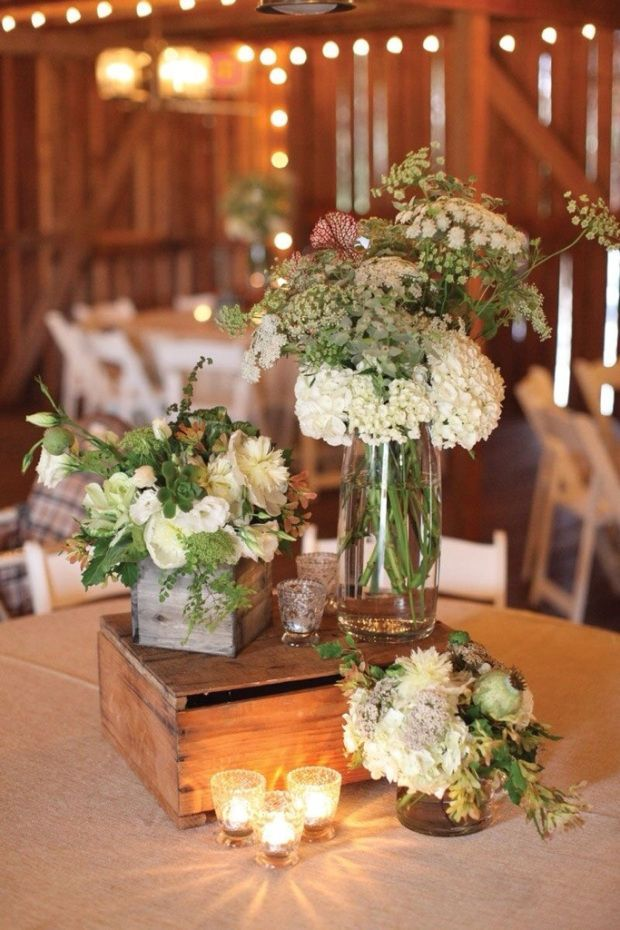 Rustic Barn Wedding Centerpieces Ideas With Flowers And Wooden