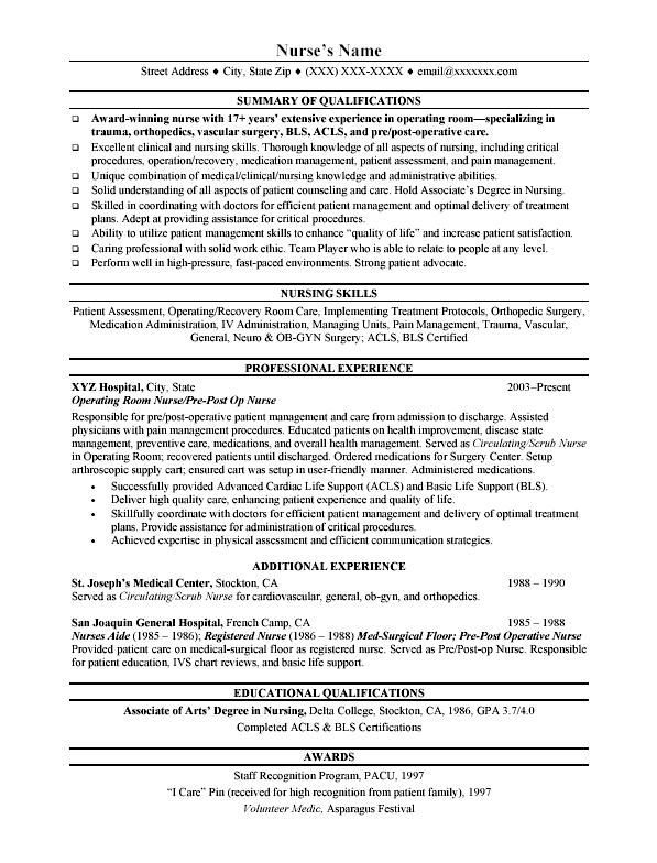about resumes pinterest traditional registered nurse resume cna - pre op nurse sample resume