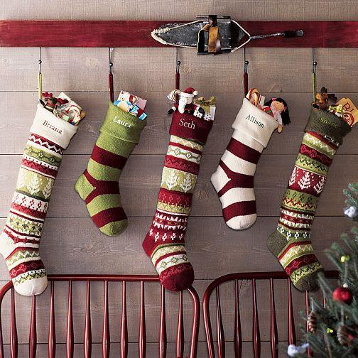 #Stockings hung on a vintage ski