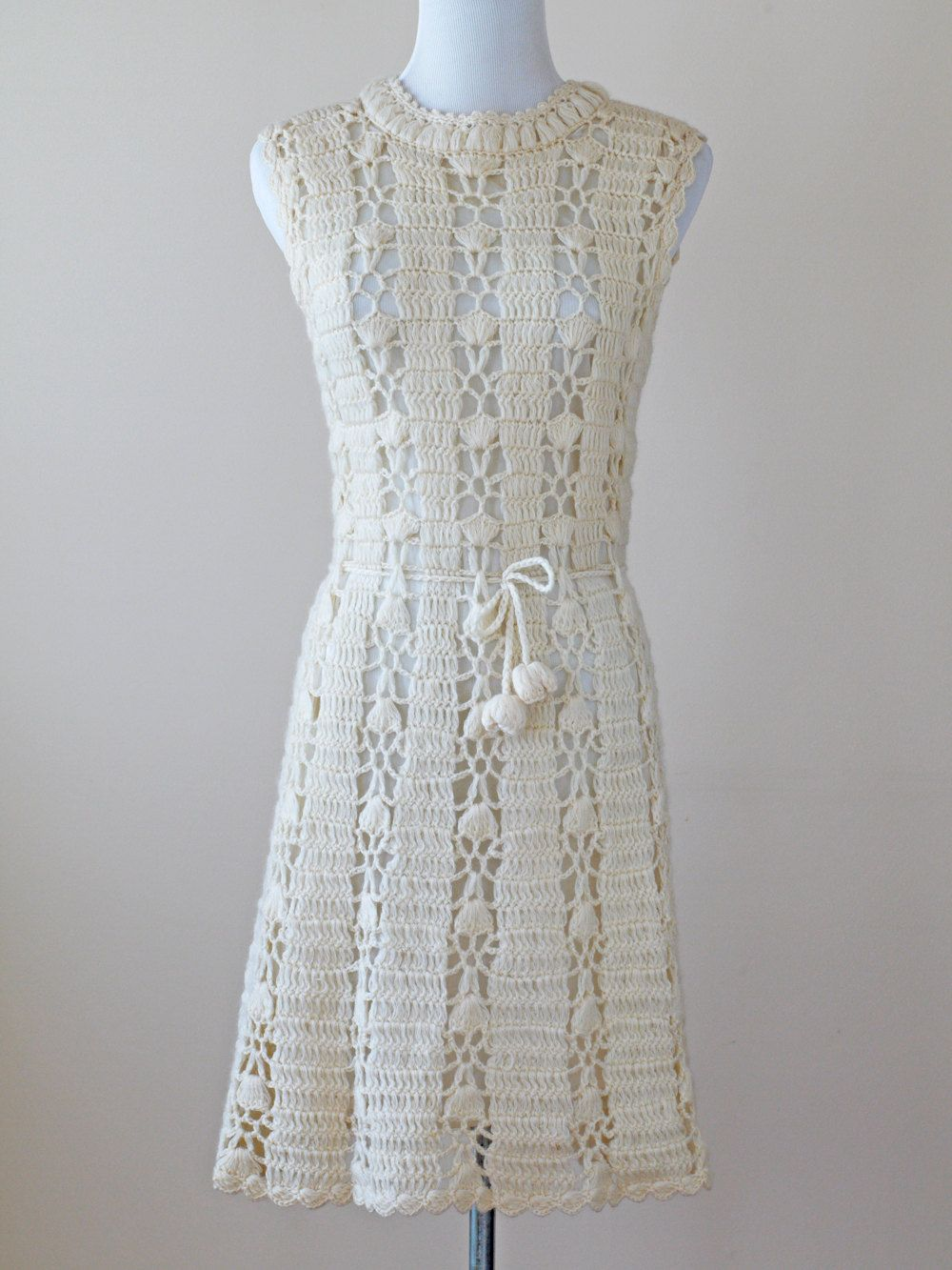 1960s Crochet Dress / 60s Knit Dress // Bohemian Rhapsody
