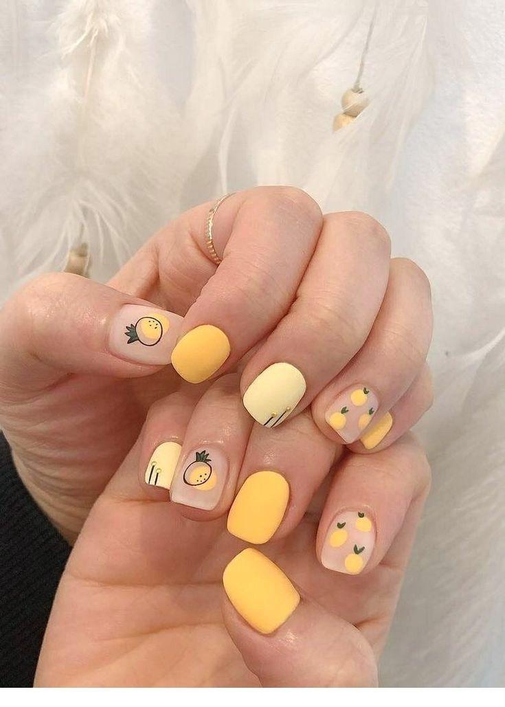 Catchy Summer Nail Art Pretty Nails Yellow Nails Nail Designs