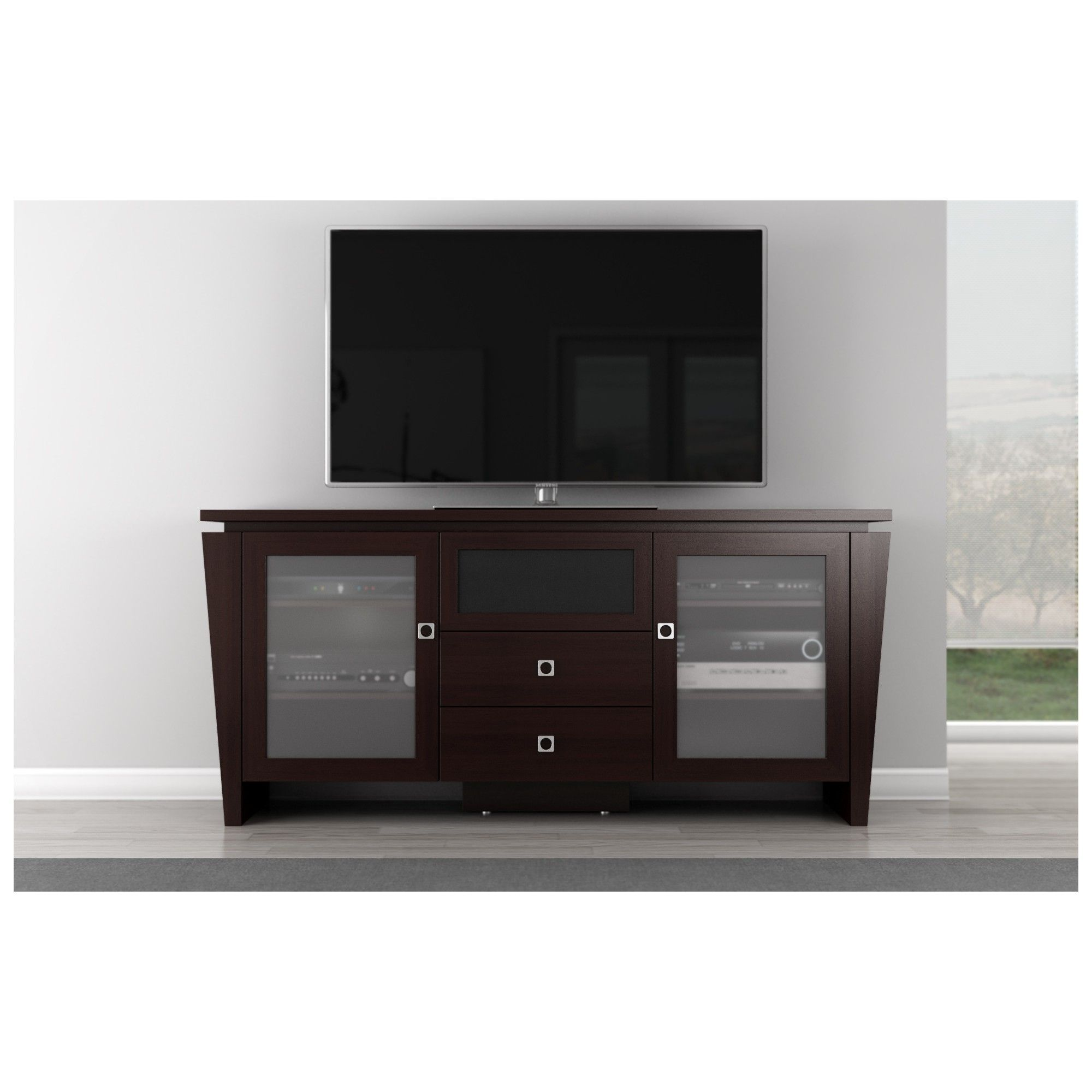 Furnitech 70 Tv Stand Modern Media Cabinet W Center Speaker  # Meuble Tv But Wenge