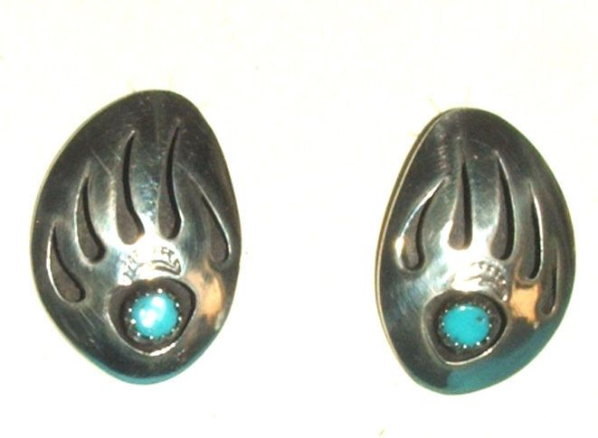 """Large sterling silver bear paw design with a turquoise stone center Earrings are 5/8"""" in width and 1"""" in height. Navajo Native American made $42.95 FREE SHIPPING #earrings #bear #bearpaw #silver #nativeamerican"""