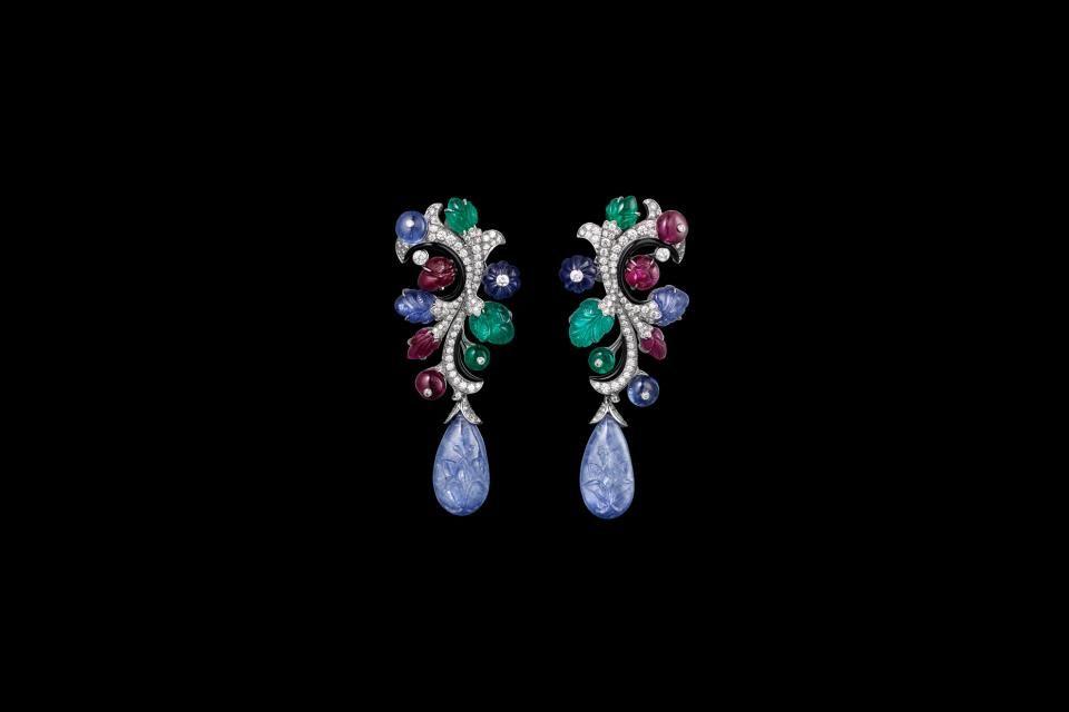Cartier - XXVIth Biennale des Antiquaires  Earrings - platinum, sapphires, rubies, emeralds, onyx, brilliants.