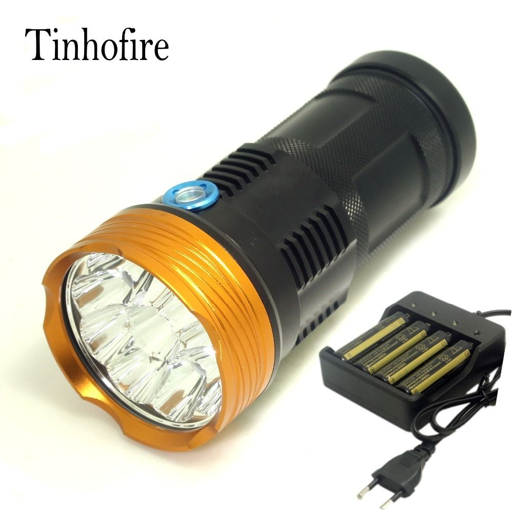 Tinhofire 20000 Lumens Light King 10t6 Led Flashlamp 10 X Cree Xm L T6 Led Flashlight Torch Lamp Light With 4 Battery Portable Light Lamp Light Led Flashlight