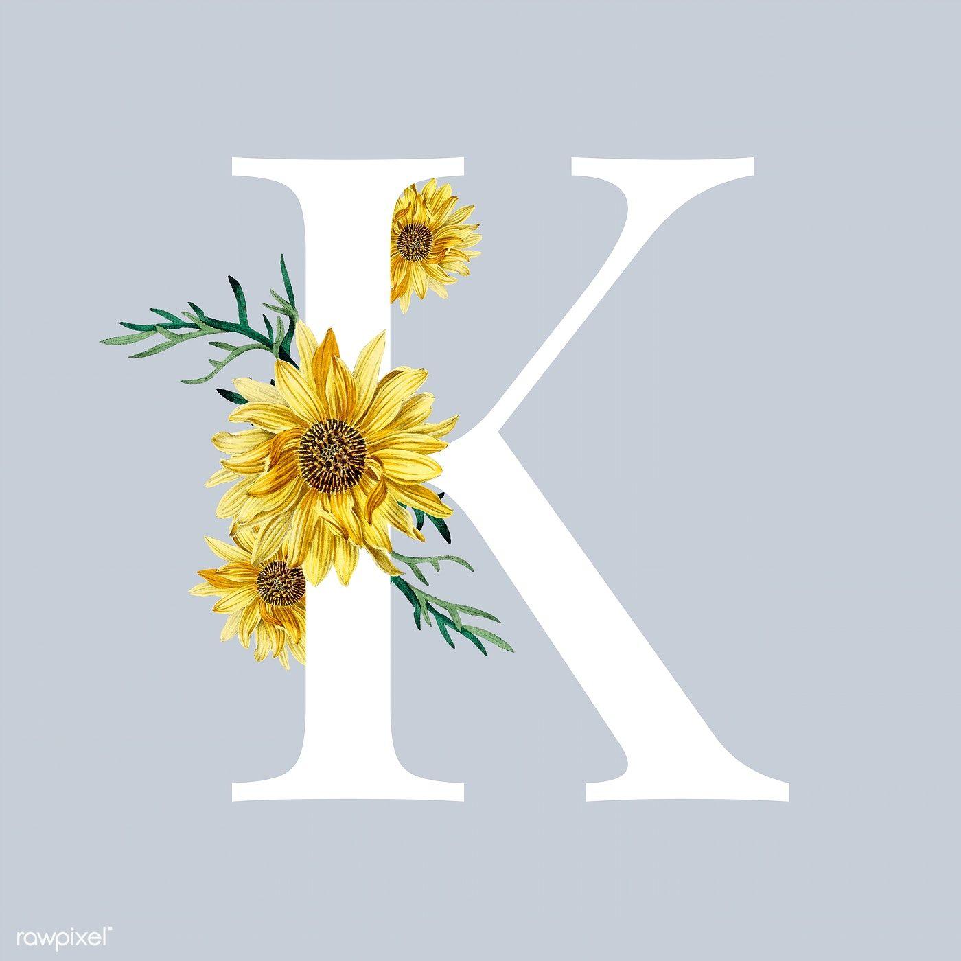 White alphabet K C decorated with hand drawn sunflower ...