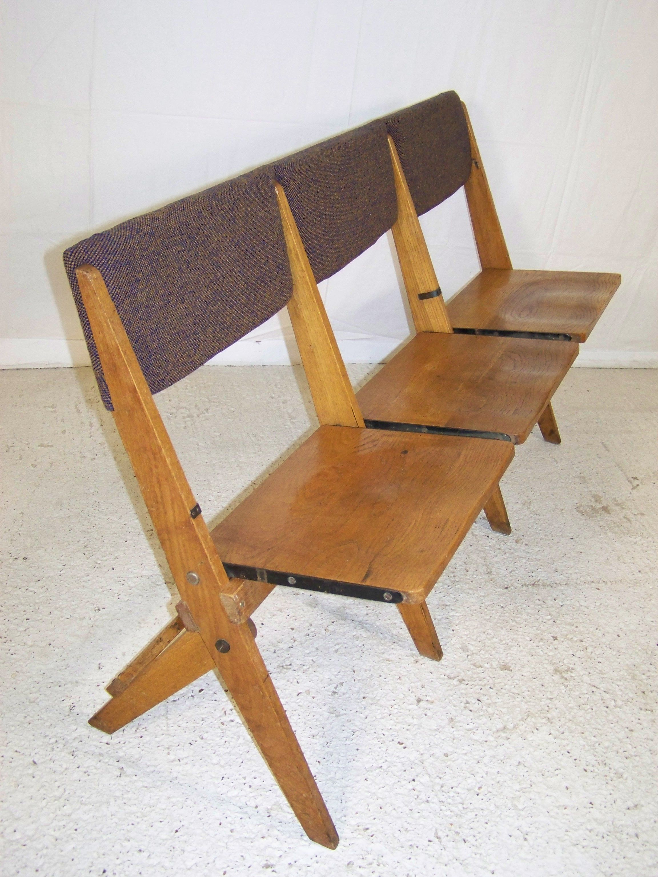 Excellent Vintage Art Deco Oak Folding 3 Seater Benches Chapel Cinema Gmtry Best Dining Table And Chair Ideas Images Gmtryco