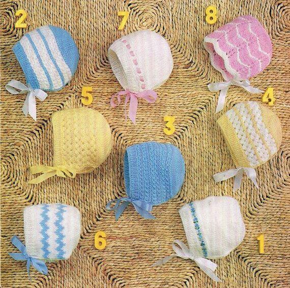 baby bonnets vintage knitting pattern PDF instant download | bonnet ...