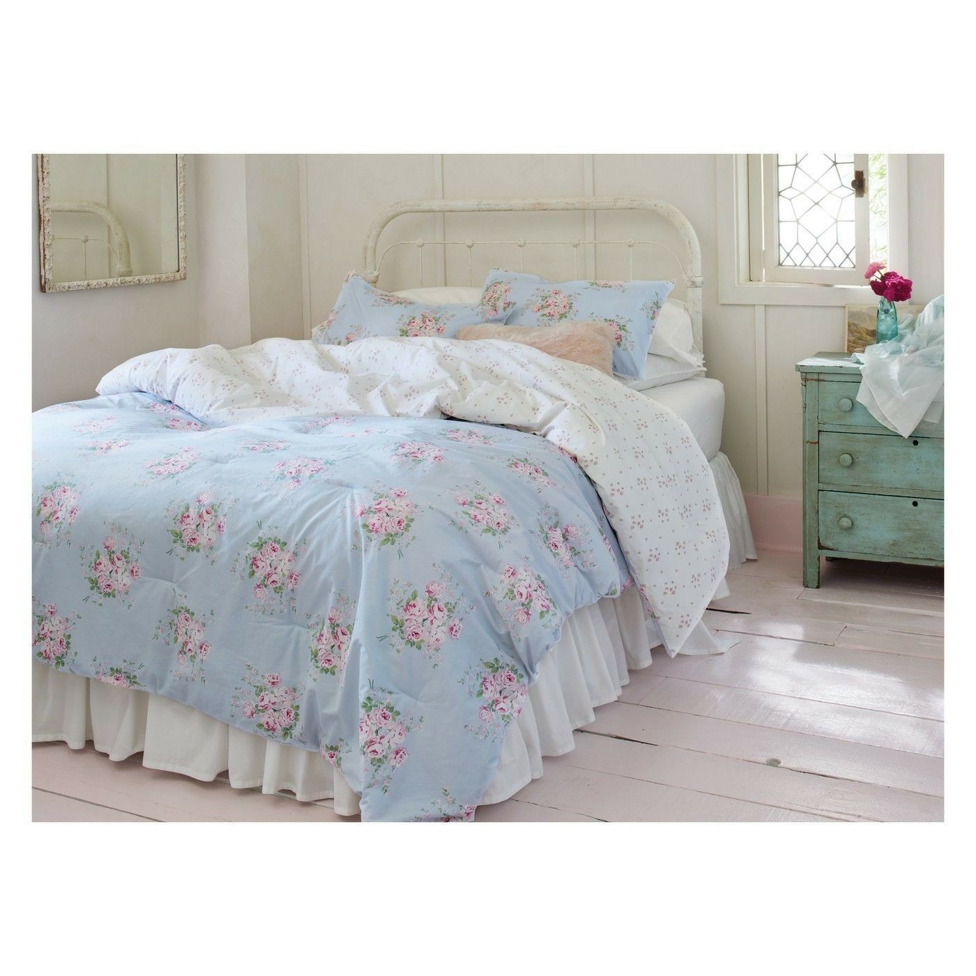 Rachel Ashwell Simply Shabby Chic Misty Blue Floral Roses F Q Comforter Set New Shabby Chic Room Chic Bedding Simply Shabby Chic