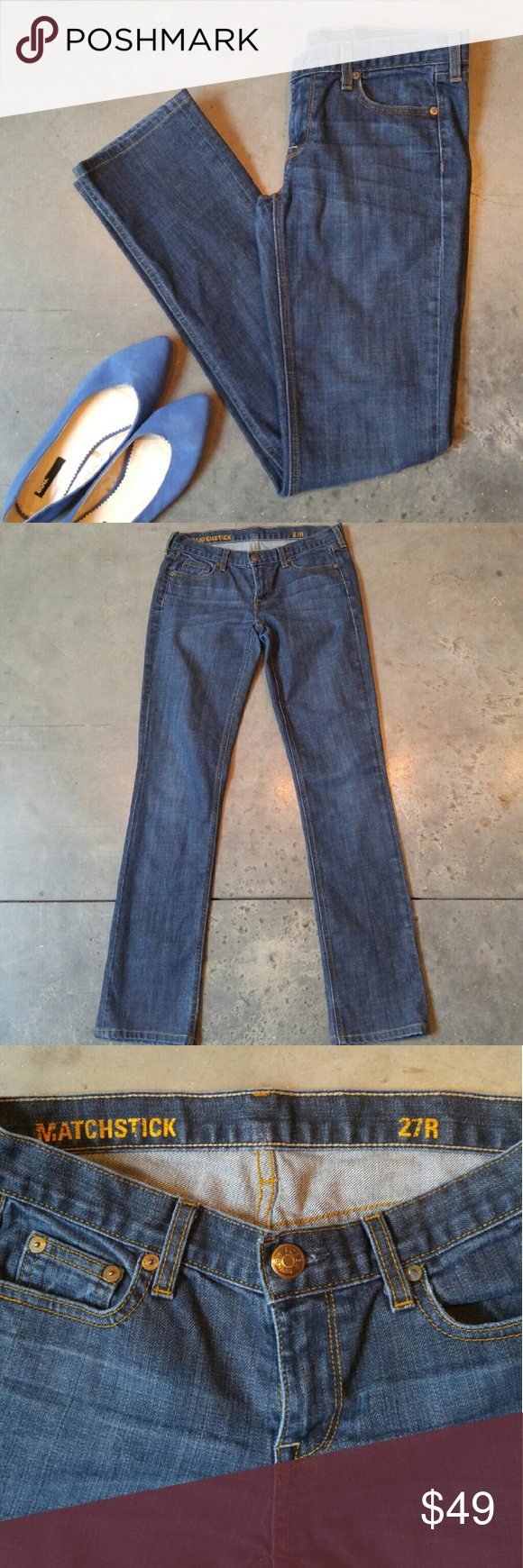 J. Crew Matchstick Denim Jeans J. Crew jeans, size 27 regular, in perfect condition! These are like new! Style is matchstick and the denim is a medium wash. Has front and back pockets. Leg fit is more like a straight leg and less like a skinny leg. Please ask any questions. No trades. Make a reasonable offer. Thanks! *Cover photo shoes not included* J. Crew Jeans Straight Leg