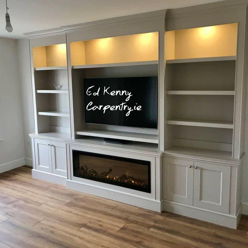 Bespoke Tv Fire Unit Built In Shelves Living Room Fireplace Built Ins Living Room Built Ins