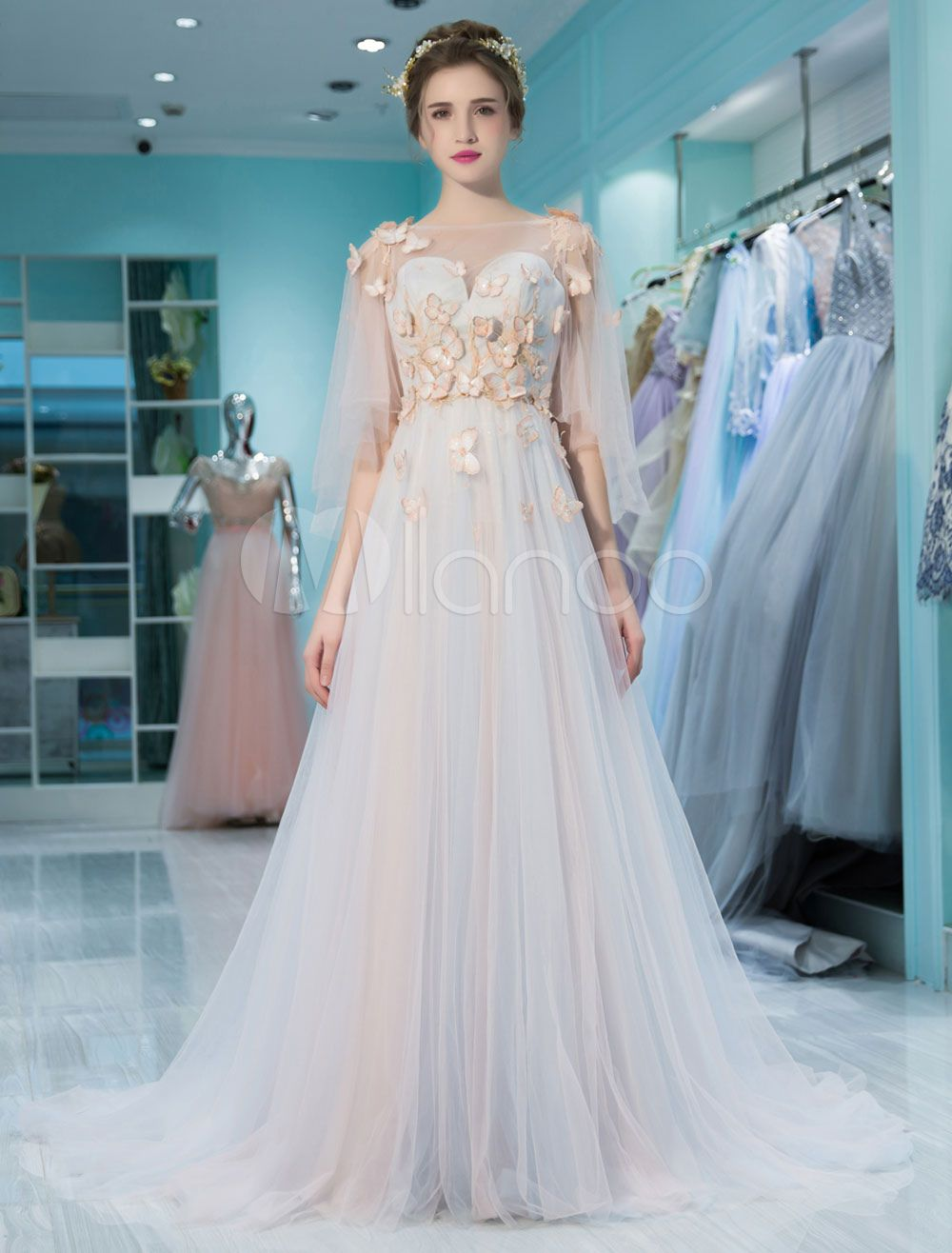 Luxury Prom Dresses Lace Butterfly Applique Backless Beading ...