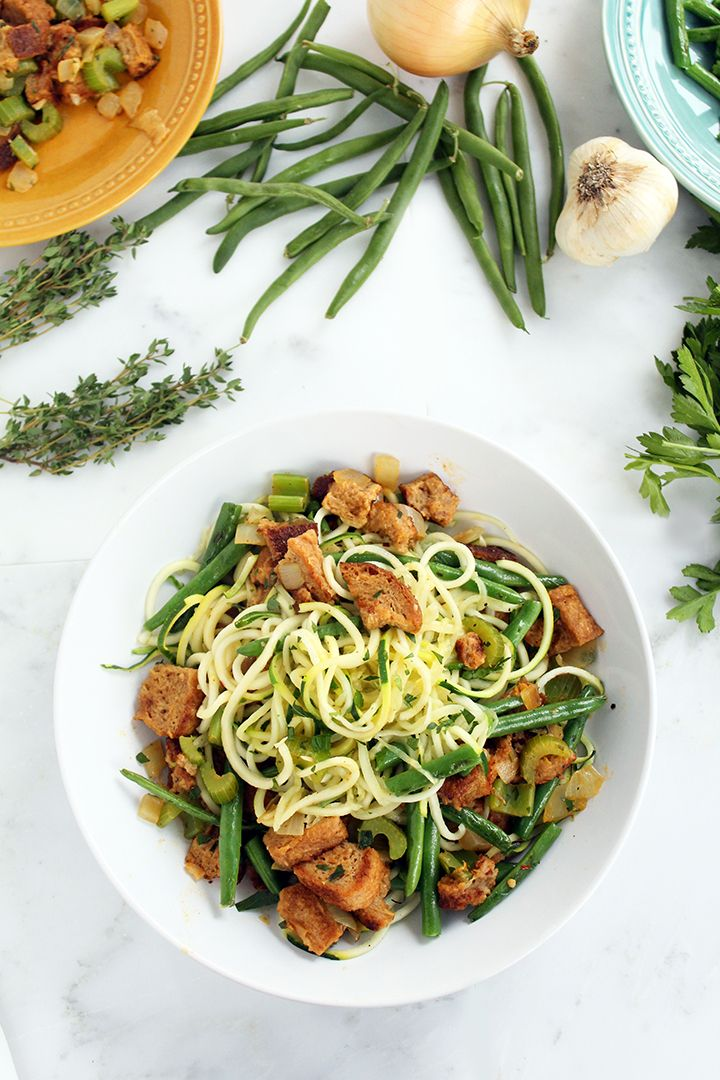 Leftovers Zucchini Pasta Featuring Garlic Green Beans Vegan Whole Wheat Stuffing