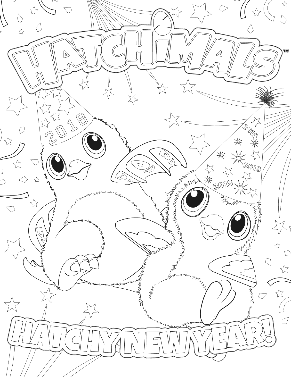 Hatchimals Happy New Year 2018 Coloring Page | ...And A ...